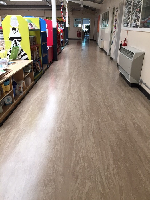 Vinyl Floor Stripped & Polished
